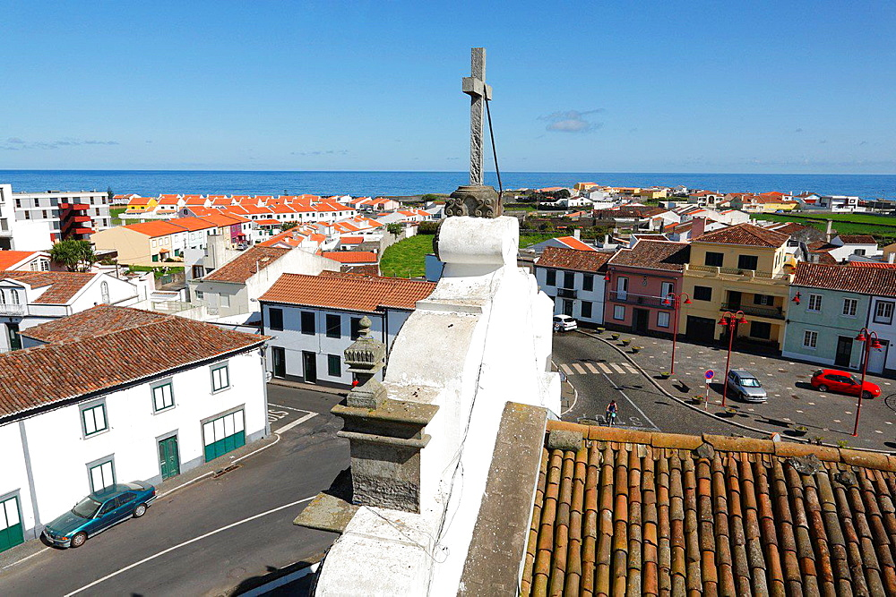 View of the parish of Ribeira Seca, in the municipality of Ribeira Grande, from the church tower. Sao Miguel, Azores islands, Portugal.