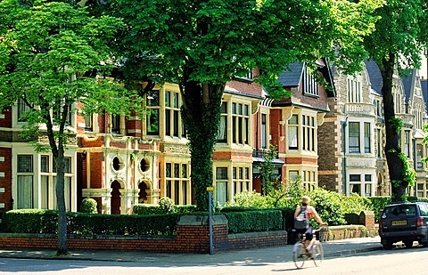 Victorian town houses in Cathedral Road. Upmarket residential are of west Cardiff, Wales.