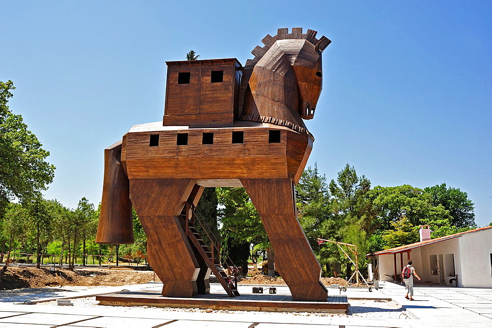 Wooden horse at ancient Troy, Biga Peninsula, Turkey - 817-457379