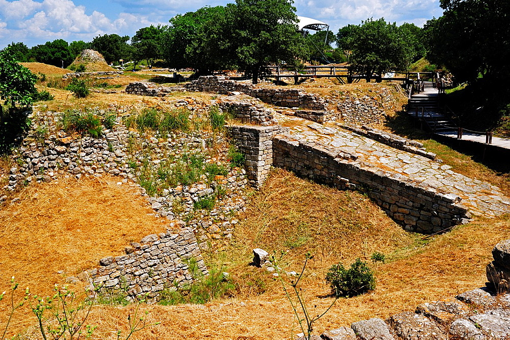 The Ramp at Troy II Citadel, 2600-2250 BC, Troy HIstoric Site, Biga Peninsula, Turkey.
