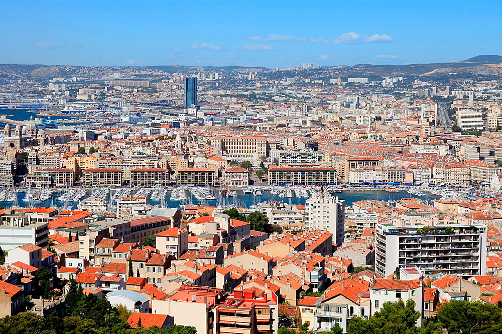Top view above the city of Marseille, Bouches du Rhone, 13, Paca, France