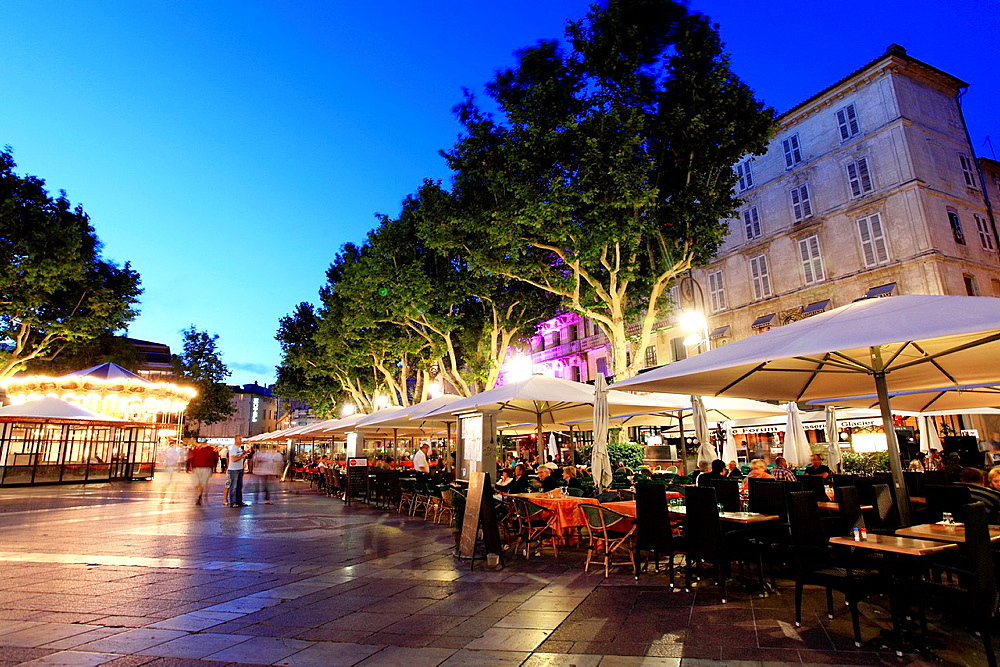 The Place de l'horloge in Avignon, Vaucluse, 84, PACA, France.