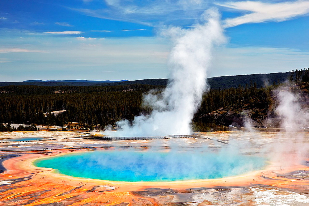 Midway Geyser Basin. Grand Prismatic Spring. Yellowstone National Park. Wyoming, USA.