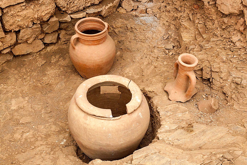 Ancient pots exhibited in the terrace houses, Ephesus, Turkey.
