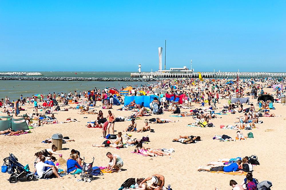 Oostende beach, North Sea Coast, West Flanders, Belgium.