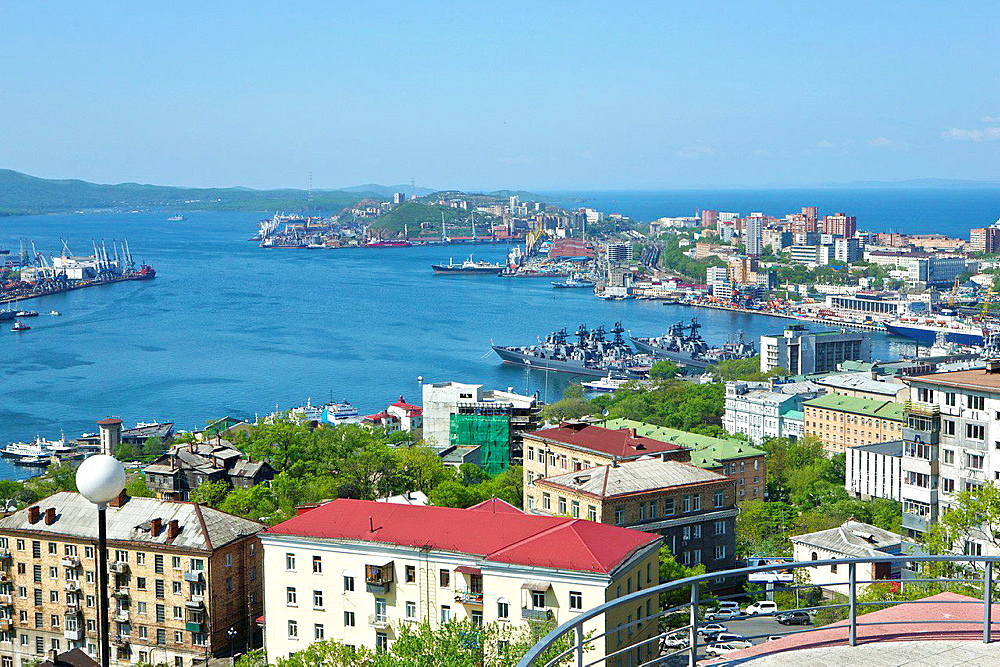 Golden Horn Harbor from 'The Eagle's Nest', Russian War Ships at Anchor. Vladivostok. Russia