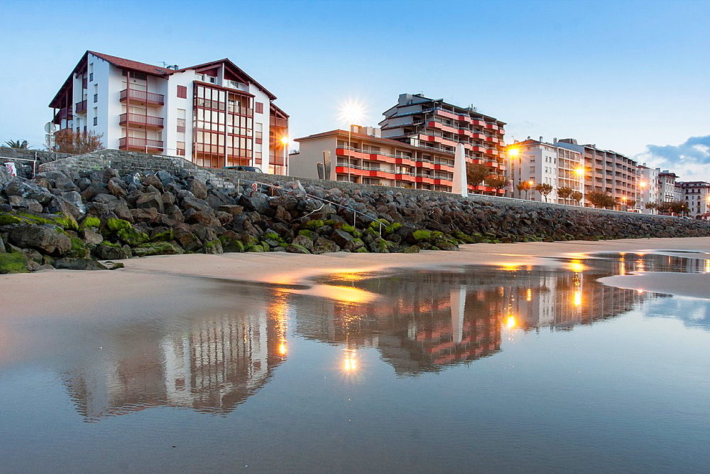 Houses on seafront, Hendaye, Basque Country.
