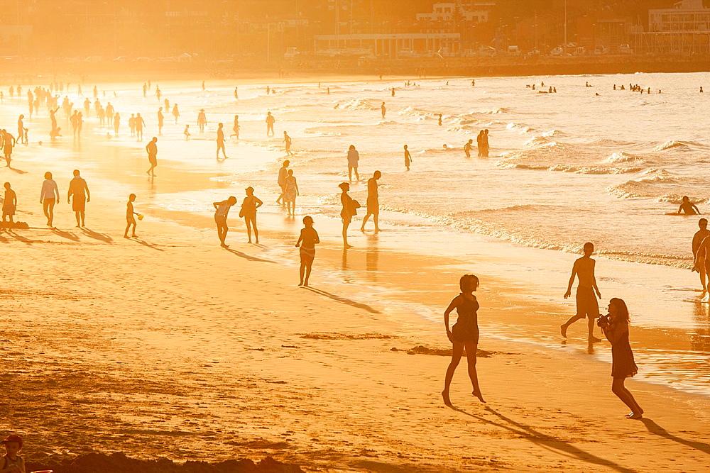 Orange sunset on the beach of Hendaye, Basque Country.