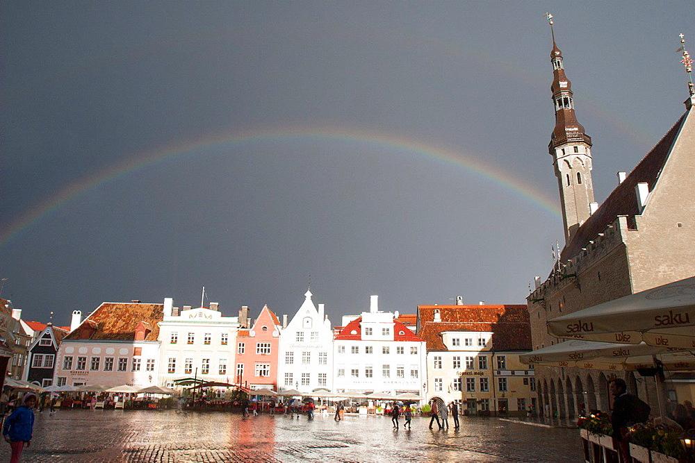 Rainbow, Town Hall Square, Tallinn, Harju, Estonia.