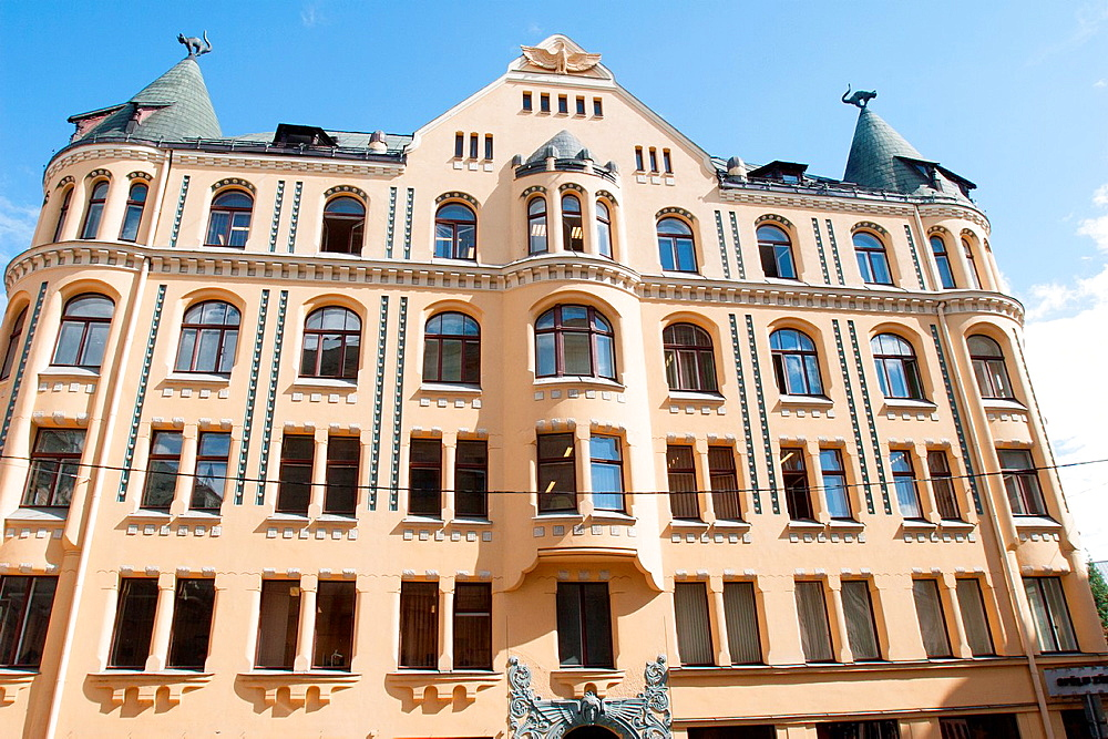 Building of Cats' House, Riga, Latvia.