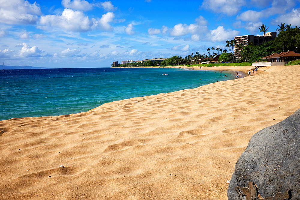 Hawaii, partial view of Molokai from Maui, North Kaanapali Beach