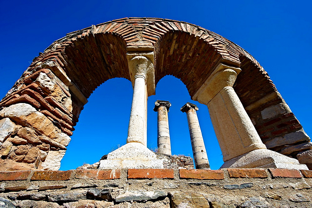 4th Century Byzantine Christian chapel next to the 3rd cent. B.C Temple of Artimis. Sardis archaeological site, Hermus valley, Turkey.