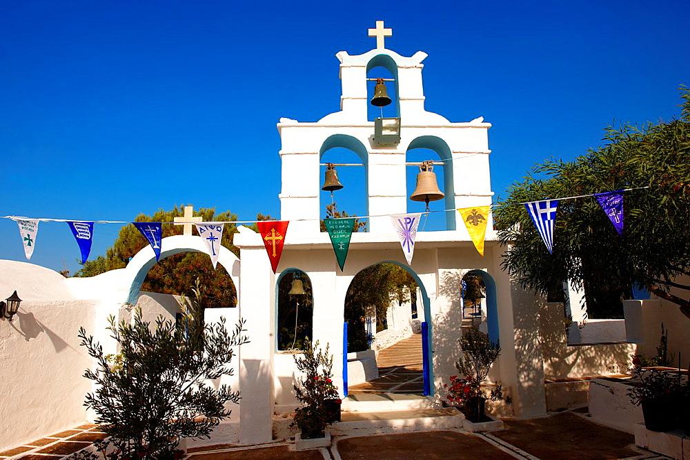 Bell tower entrance of the Greek Orthodox monastery of Kalamos, Ios, Cyclades Islands, Greece.