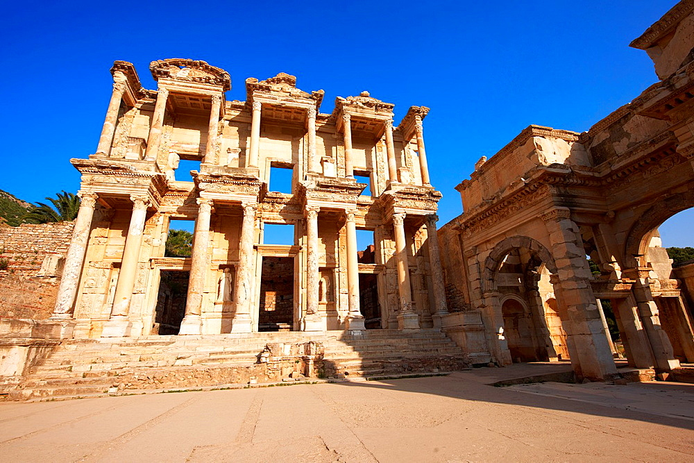 The library of Celsus at sunrise. Images of the Roman ruins of Ephesus, Turkey.