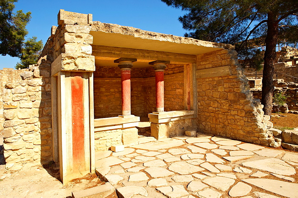 Arthur Evans reconstruction of Knossos Minoan Palace archaeological site, Crete.