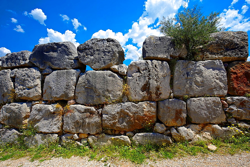 Gigantic' stone wall of the Mycenaen archiological site of Tiryns