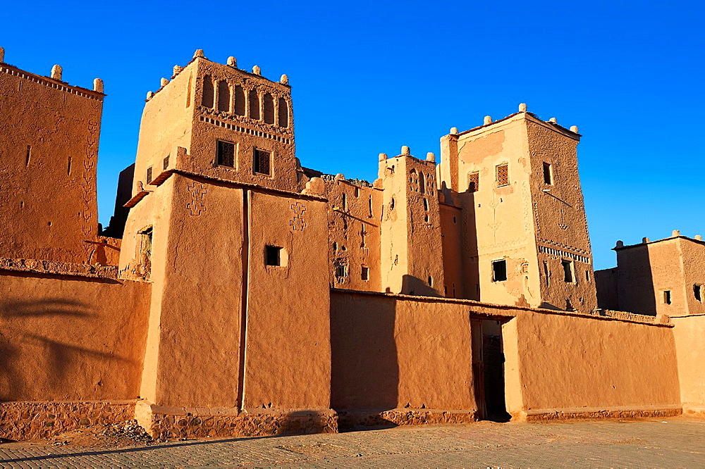 Exterior of the mud brick Kasbah of Taourirt, Ouarzazate, Morocco, built by Pasha Glaoui. A Unesco World Heritage Site.