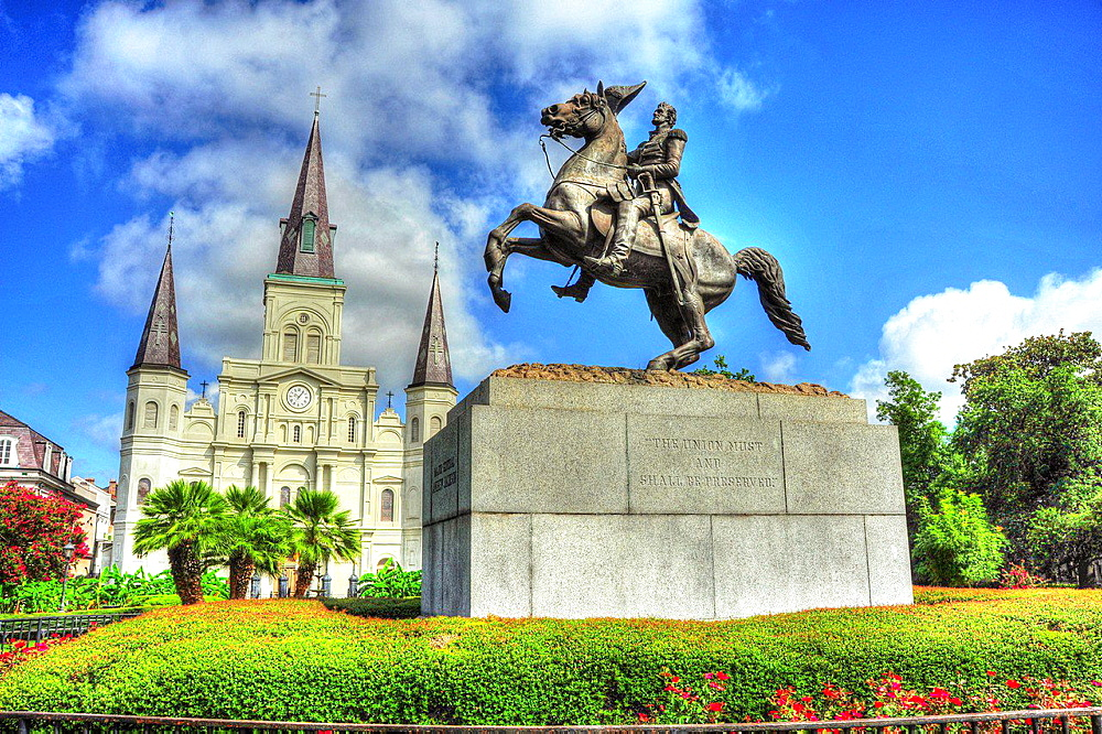 Jackson Square in New Orleans Louisiana with statue Andrew Jackson, USA