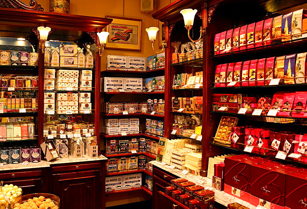 interior of one of hundreds shops selling Belgian chocolates, Brussels, Belgium.