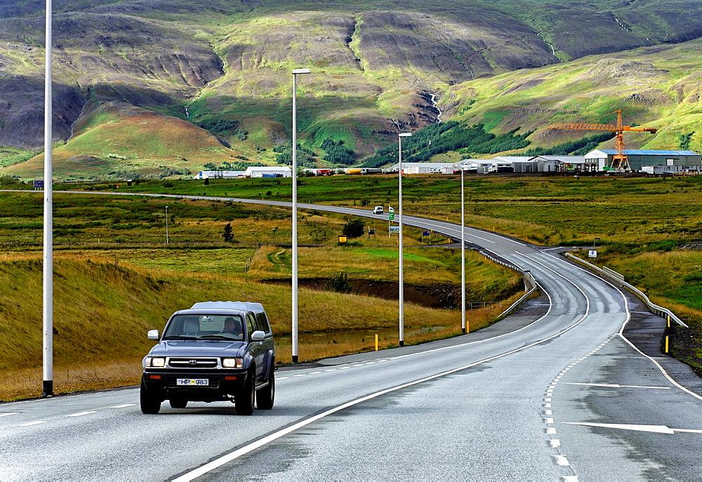 Road along west coast, north of Reykjavik, Iceland
