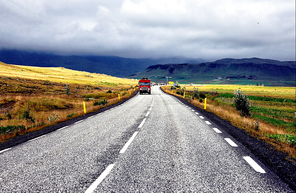 Road along western coast, north of Reykjavik, Iceland