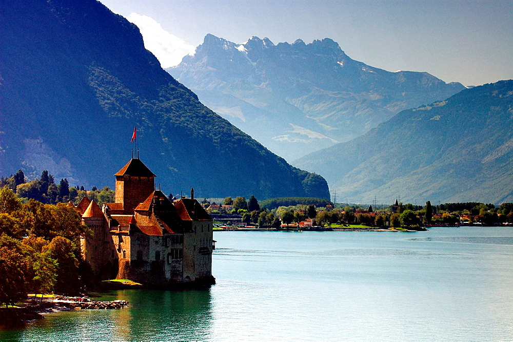 view for Chillon castle, Geneva lake and Swiss Alps, Switzerland, canton Vaud