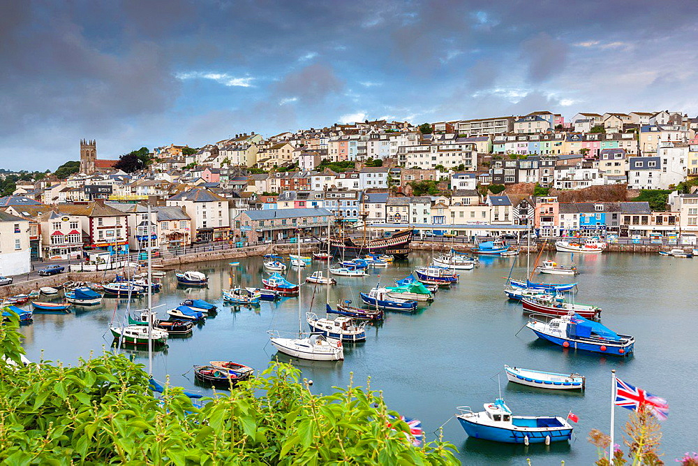 Boats moored in Brixham harbour, South Devon, England, United Kingdom, Europe.