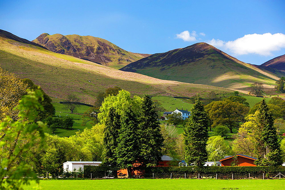 View towards Braithwaite Village, Lake District National Park, Cumbria, England, UK, Europe.