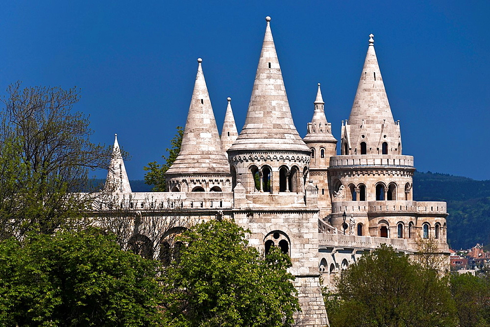 View of the Fishermen's Bastion, a neo-Romanesque monument. Built from 1895 to 1902, by Frigyes Schulek. It stands on the Castle Hill on the site of the medieval fish market of Buda, Budapest, Hungary, Europe