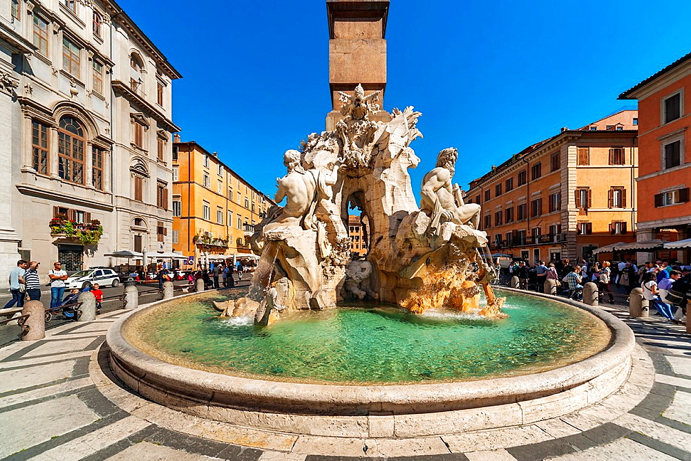Piazza Navona, and the Fountain of the Four Rivers Fontana die Fiumi, Rome, Lazio, Italy, Europe.