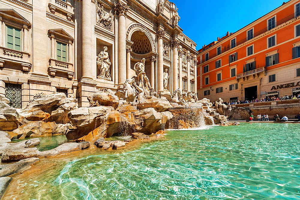The Trevi Fountain, Fontana di Trevi, is 26 meters high and 50 meters wide. It is the largest fountain in Rome. It was built at the end of Palazzo Poli from 1732 to 1762, Rome, Lazio, Italy, Europe.