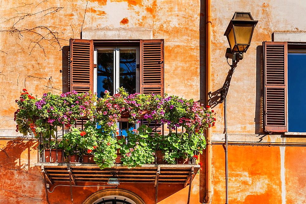 Typical balcony of a house in the historic center of Rome, Via del Mascherone, corner of Via Giulia, Lazio, Italy, Europe.