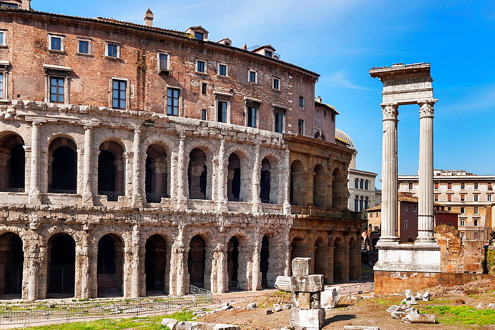The theatre of Marcellus, Teatro di Marcello, was officially opened in 13 BC, with elaborate games. It offered more than 15, 000 spectators. Next to it are the ruins of the Temple of Apollo of Sosianus, Rome, Lazio, Italy, Europe.