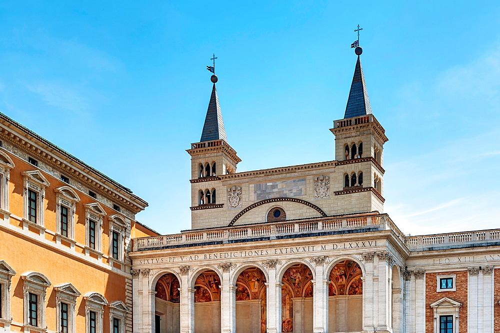 Archbasilica of St. John Lateran Basilica di San Giovanni in Laterano, side porch, Rome, Lazio, Italy, Europe.