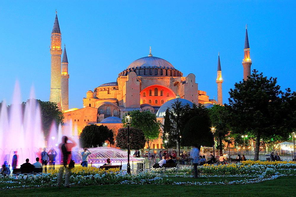 Hagia Sophia at Dusk, Istanbul, Turkey.