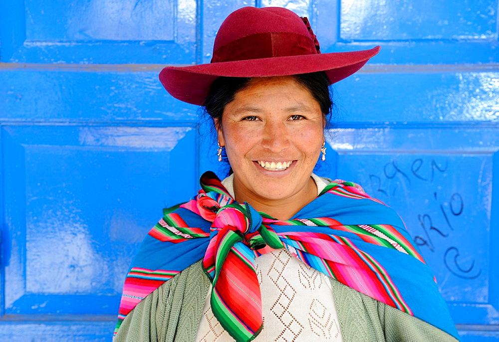 Peruvian woman wearing national clothing in Cusco,Peru,South America.