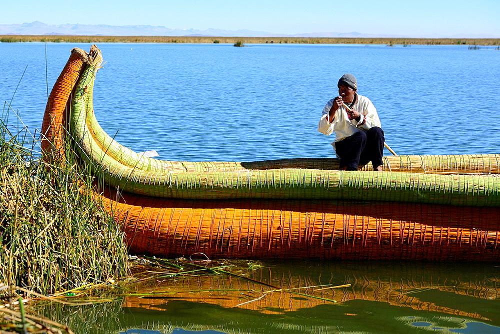 Reed Boat on Lake Titicaca,Peru,South America.