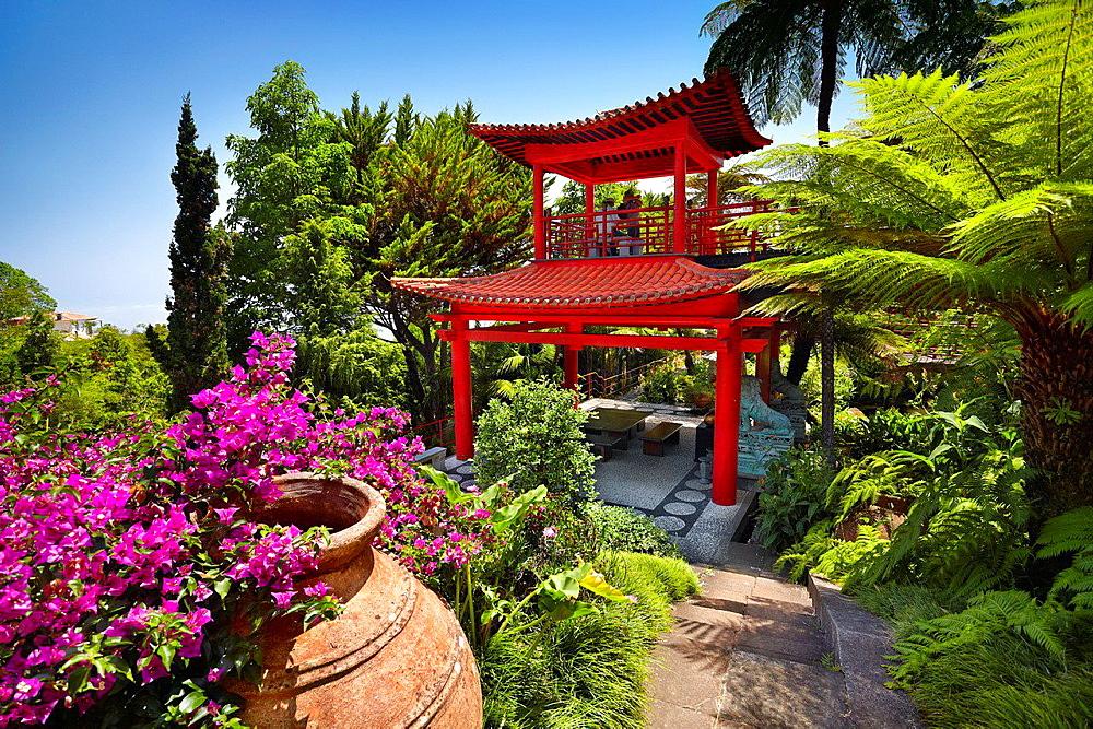 Monte Palace Tropical Garden (Japanese garden), Monte, Madeira, Portugal.