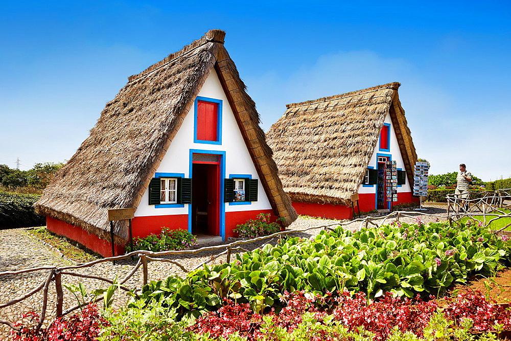 Traditional Madeirense home palheiros, Santana, Madeira, Portugal.