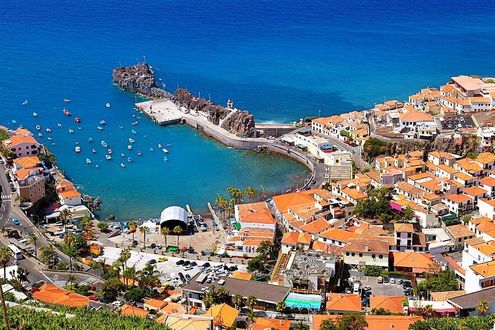 Aerial view of Camara de Lobos, Madeira, Portugal.