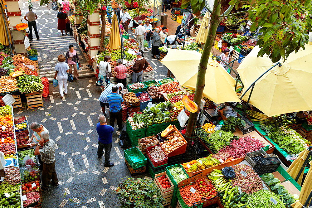 Mercado dos lavradores, fresh fruit and vegetables in the Funchal market, Madeira, Portugal.