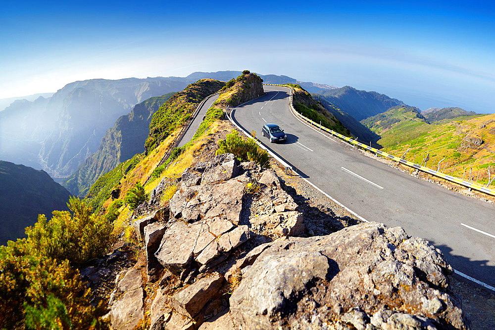 Alpine road from Encumenada Pass to plateau Paul da Serra, Madeira, Portugal.