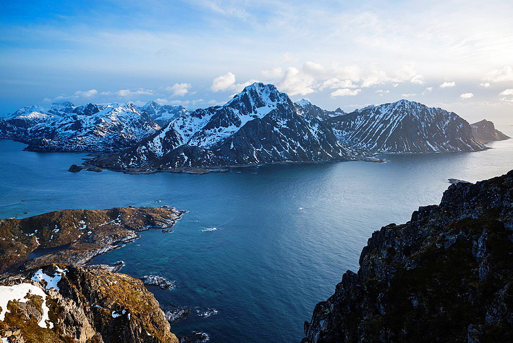 View of Flakstadoy and Nappstraumen from summit of Offersoykammen, Lofoten Islands, norway.