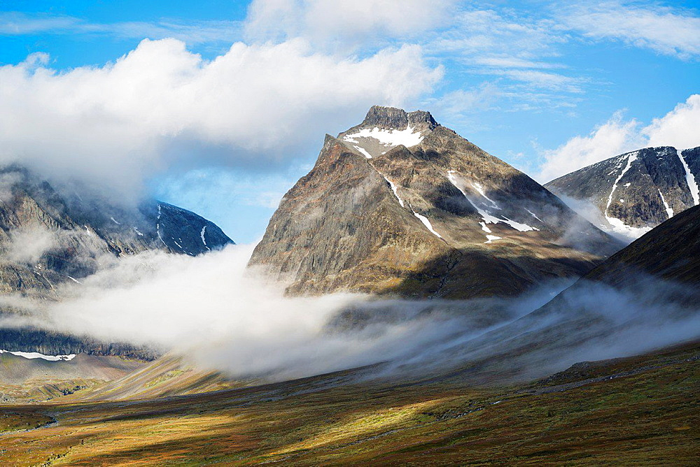 1662 meter Tolpagorni, Duolbagorni rises above Ladtjovagge viewed from near Kebnekaise Fja§llstation, Lappland, Sweden.