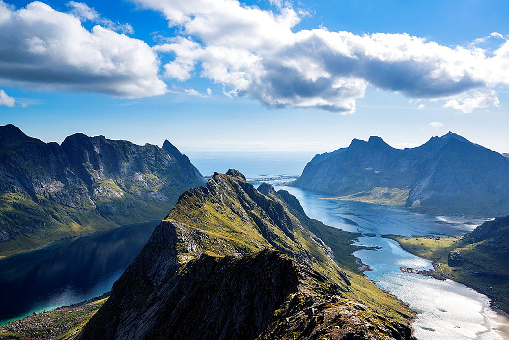 View towards Reine from near summit of Helvetestinden, Moskenesoy, Lofoten Islands, Norway.