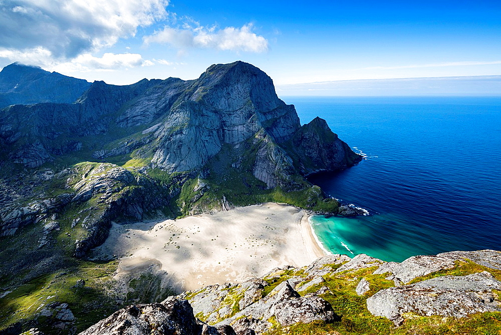 Bunes beach as viewed from Helvetestinden, Moskenesoy, Lofoten Islands, Norway.