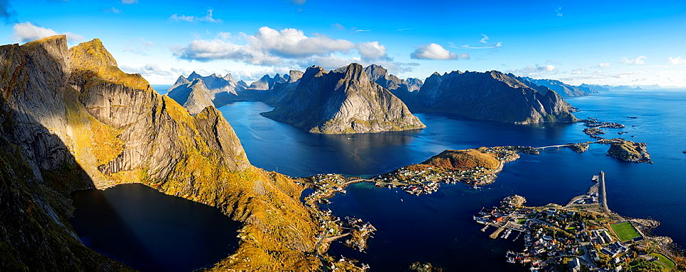 View over Reine and Fjord landscape from summit of Reinebringen, Moskenesoy, Lofoten Islands, Norway.