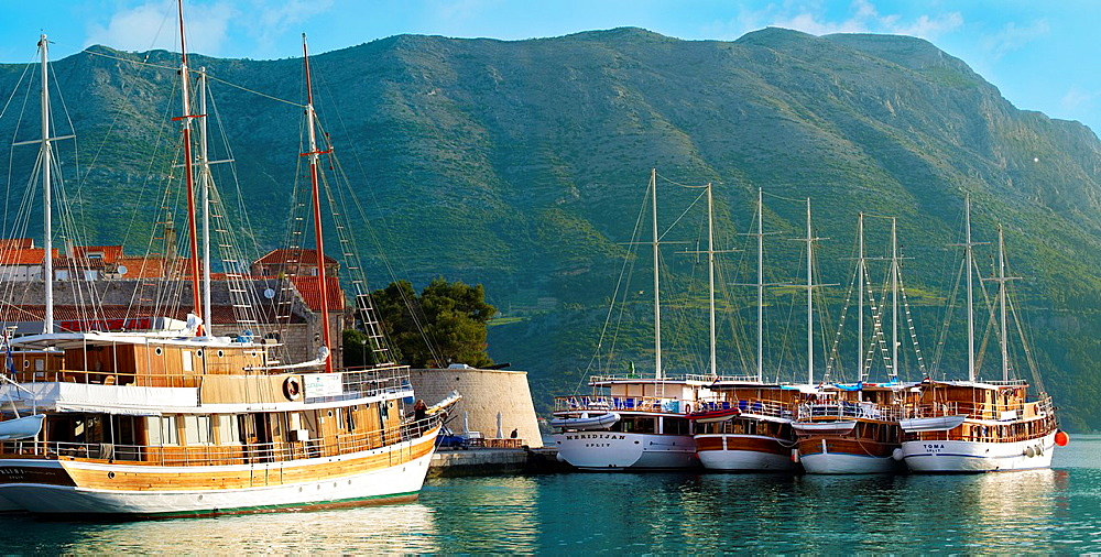 charter cruise boats in the harbour of Korcula town, Korcula Island Craotia.