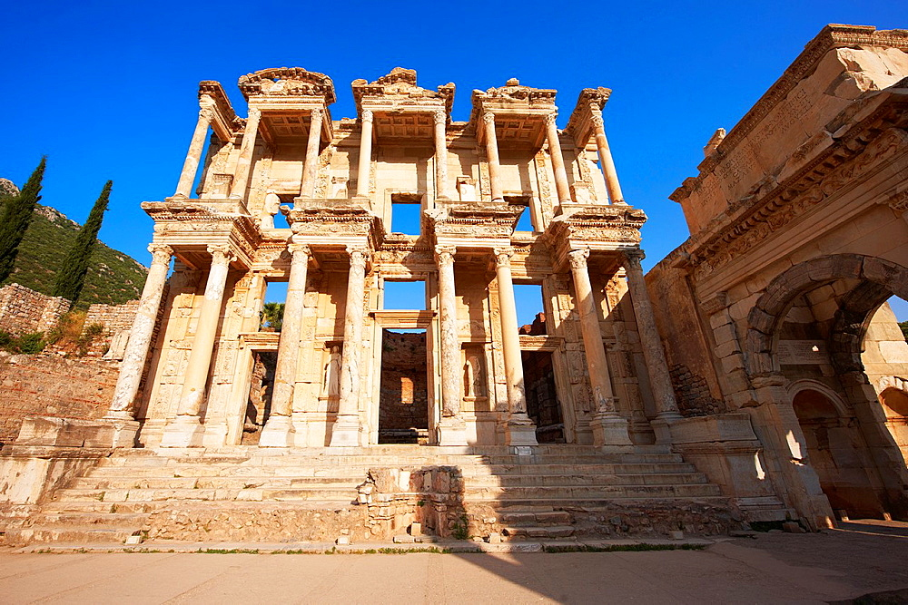 Picture & Photo of The library of Celsus at sunrise. Images of the Roman ruins of Ephasus, Turkey.
