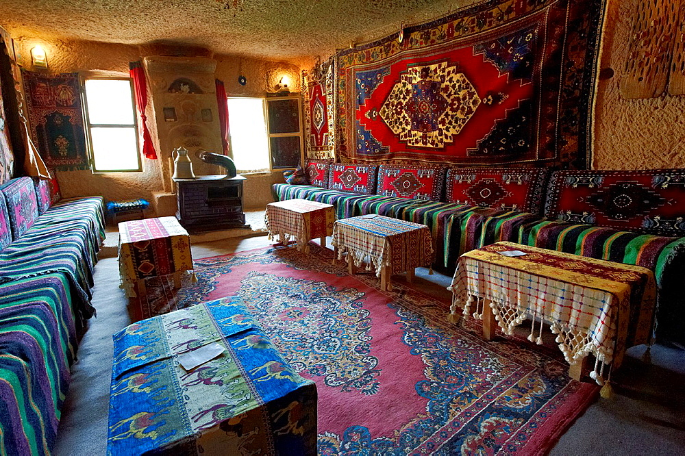 Inside a rock house of Uchisar, Cappadocia Turkey.
